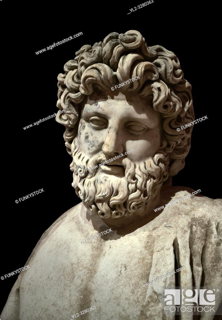 Stock Photo: Roman statue of Asklepios. Marble. Perge. 2nd century AD. Inv no . Antalya Archaeology Museum; Turkey. Against a black background. .