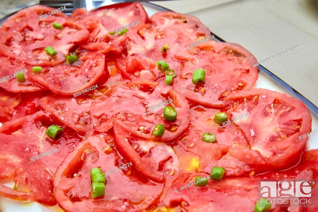 Stock Photo: Tomato and chilli salad, Gipuzkoa, Basque Country, Spain, Europe.