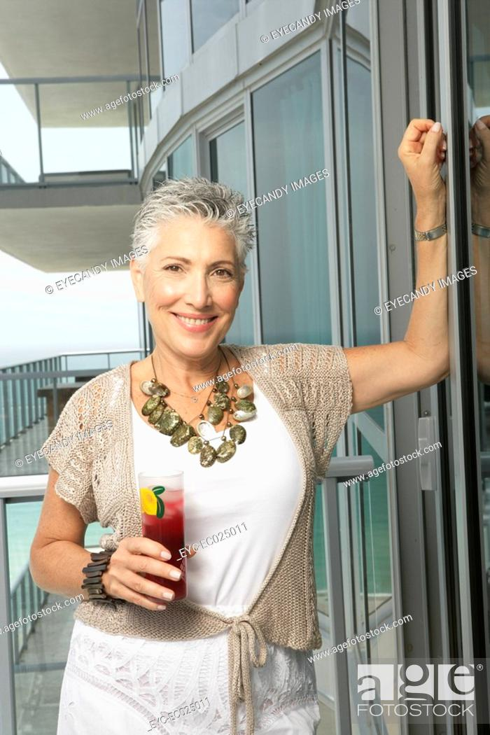 Stock Photo: Portrait of a mature woman.