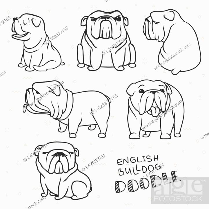 Dogs characters  Doodle dog  Sticker dog english bulldog