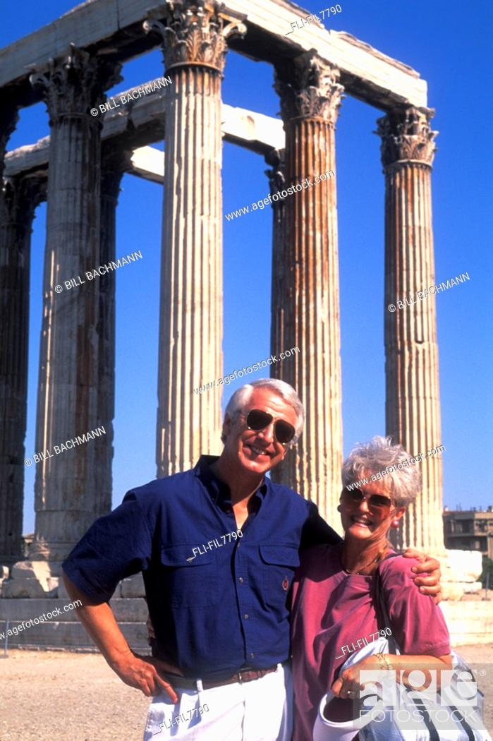 Stock Photo: Retired Couple at Zeus Ruins, Athens, Greece.