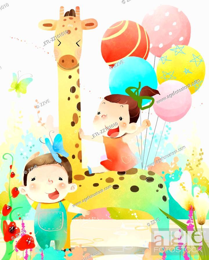 Stock Photo: Two children making celebration.