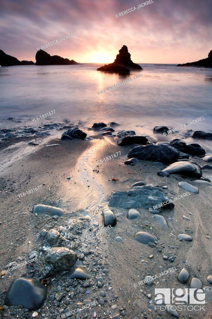 Stock Photo: Sunset on the California coast near Mendocino.