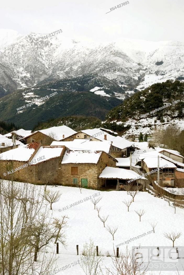 Stock Photo: Village Torices, in Liébana, Cantabria, Spain.