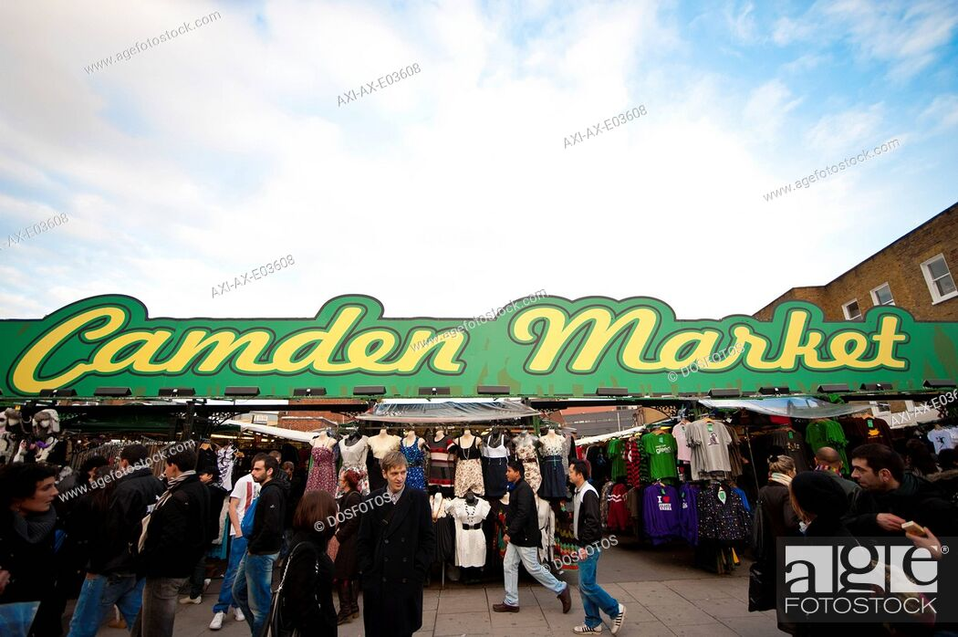 Stock Photo: Shops In Camden High Street As Part Of The Famous Camden Market, Camden Market, North London, London, Uk.