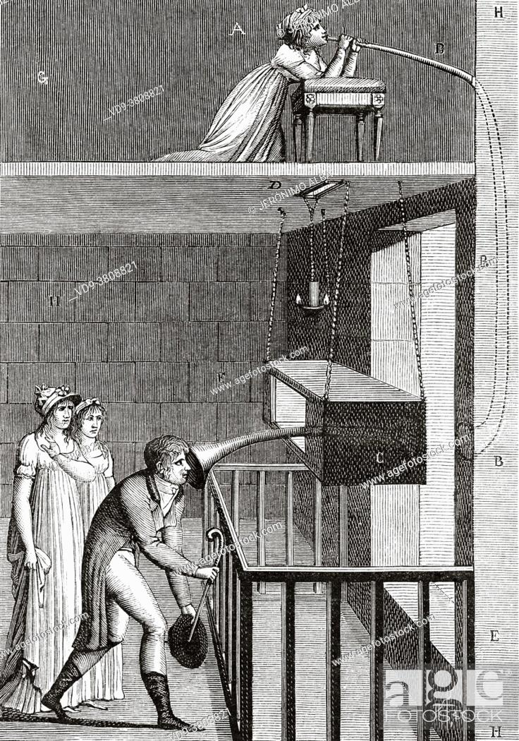 Stock Photo: The Invisible Woman and her secret unveiled, transfer of the voice of a invisible woman by a speaking tube. Old 19th century engraved illustration from La.