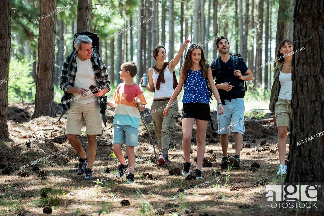 Photo de stock: Family hiking in forest.