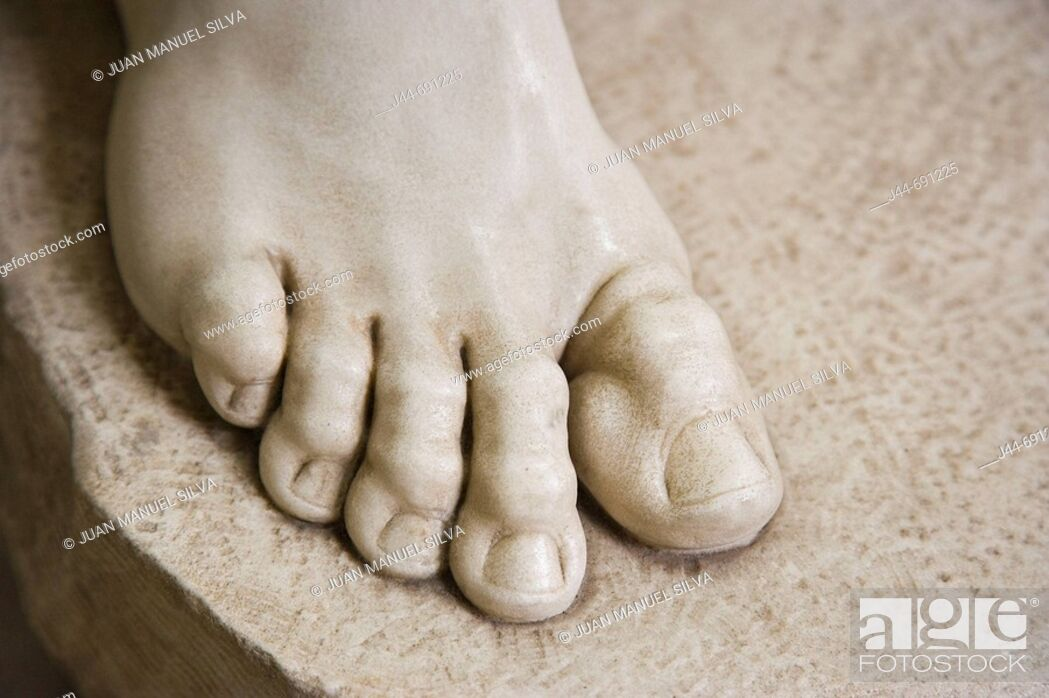 Stock Photo: Detail of foot from sculpture, Vatican museum, Rome, Italy.