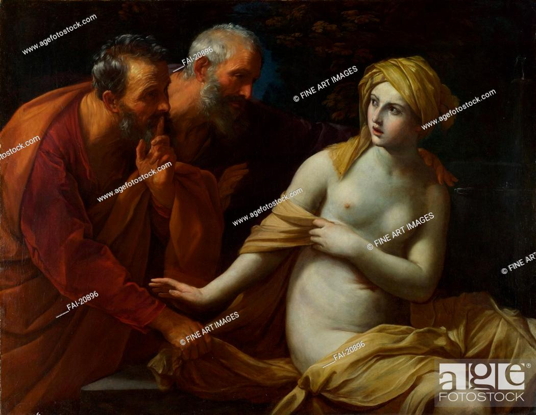 Stock Photo: Susannah and the Elders. Reni, Guido (1575-1642). Oil on canvas. Baroque. 1622-1625. Italy, Bolognese School. National Gallery, London. 117x151. Bible.
