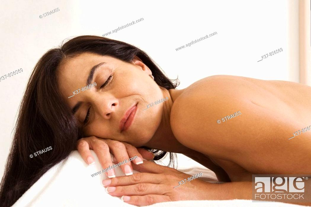 Stock Photo: Woman waiting for acupuncture therapy.