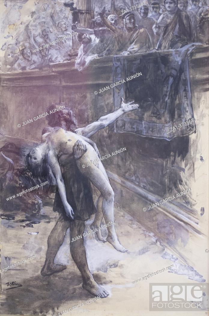 Stock Photo: Ursus claims pardon of Ligia to Nero Emperor. Quo Vadis novel scene. Painted by Ulpiano Checa in 1901. Local Museum of Colmenar de Oreja, Madrid, Spain.
