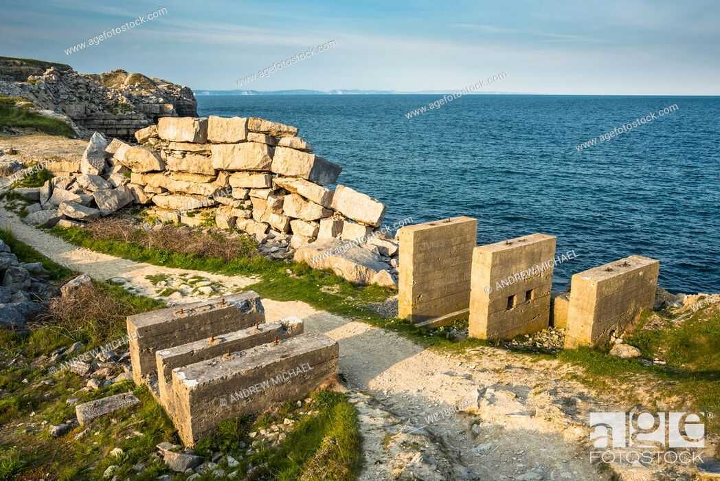 Stock Photo: Remains of an ancient disused quarry at Portland Bill on the Isle of Portland, Dorset. England. UK.