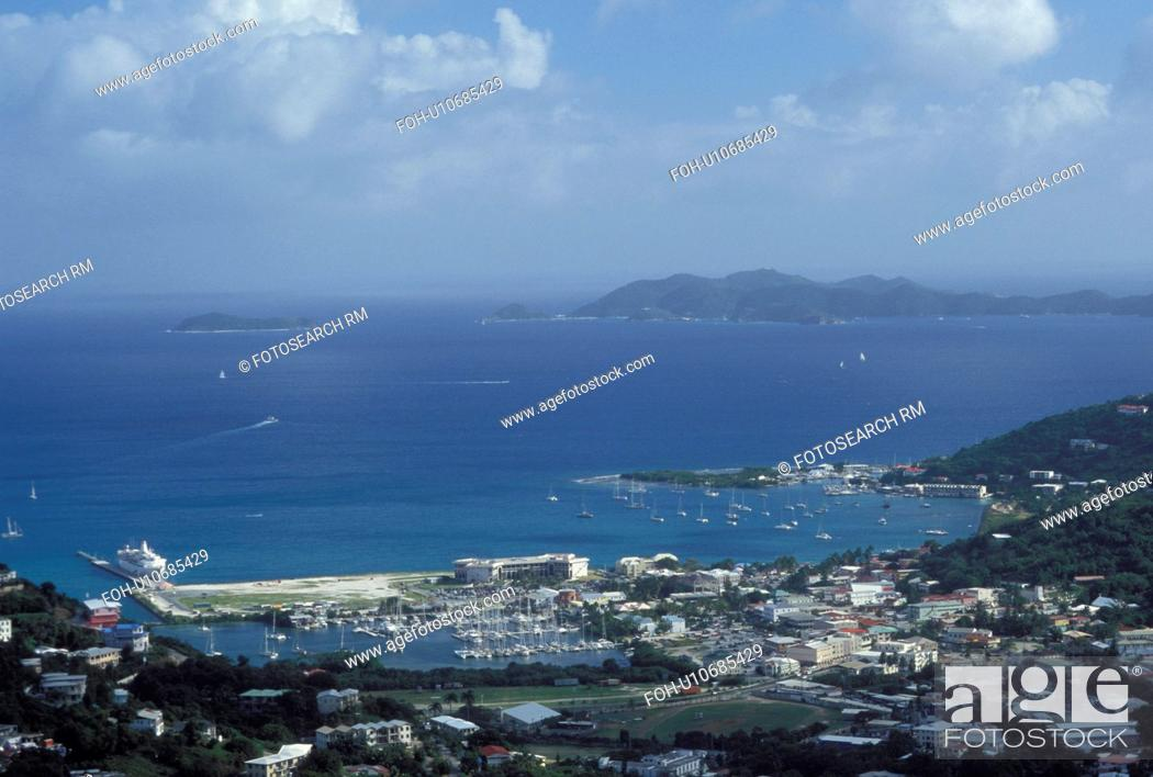 Stock Photo: Caribbean, Road Town, Tortola, British Virgin Islands, Road Bay, BVI, Scenic view of Road Town on the island of Tortola on the Caribbean Sea.