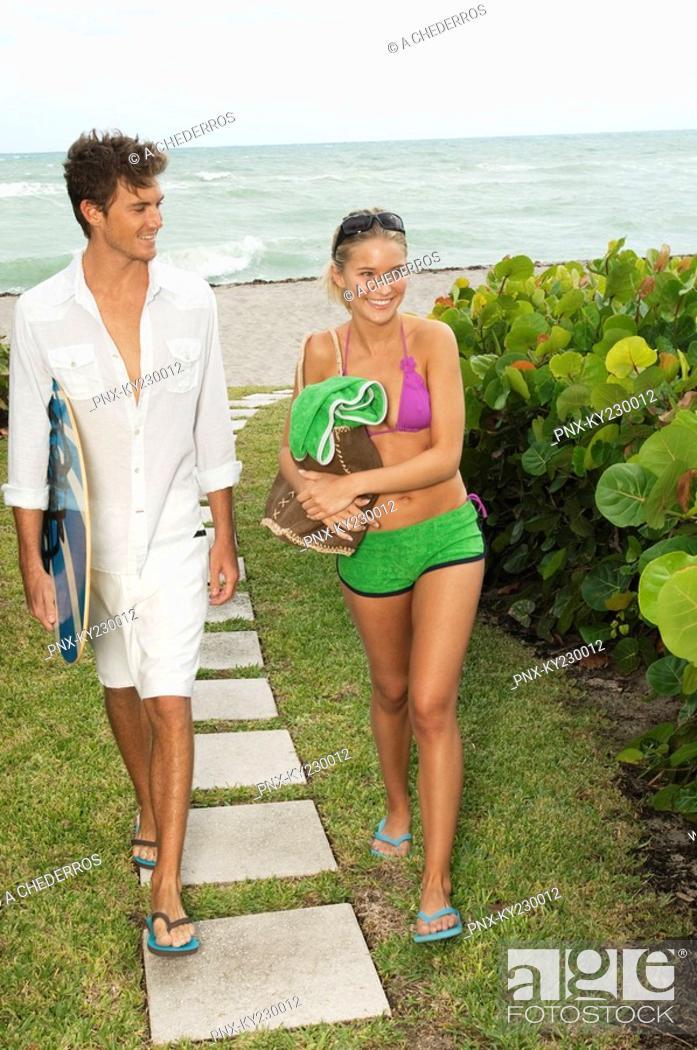 Stock Photo: Couple at a tourist resort.