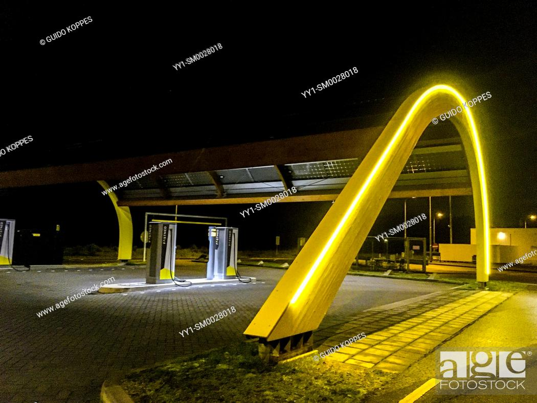Stock Photo: Noord-Brabant, Netherlands. Electrical Charging Station for Cars driving on Renewable Energy.