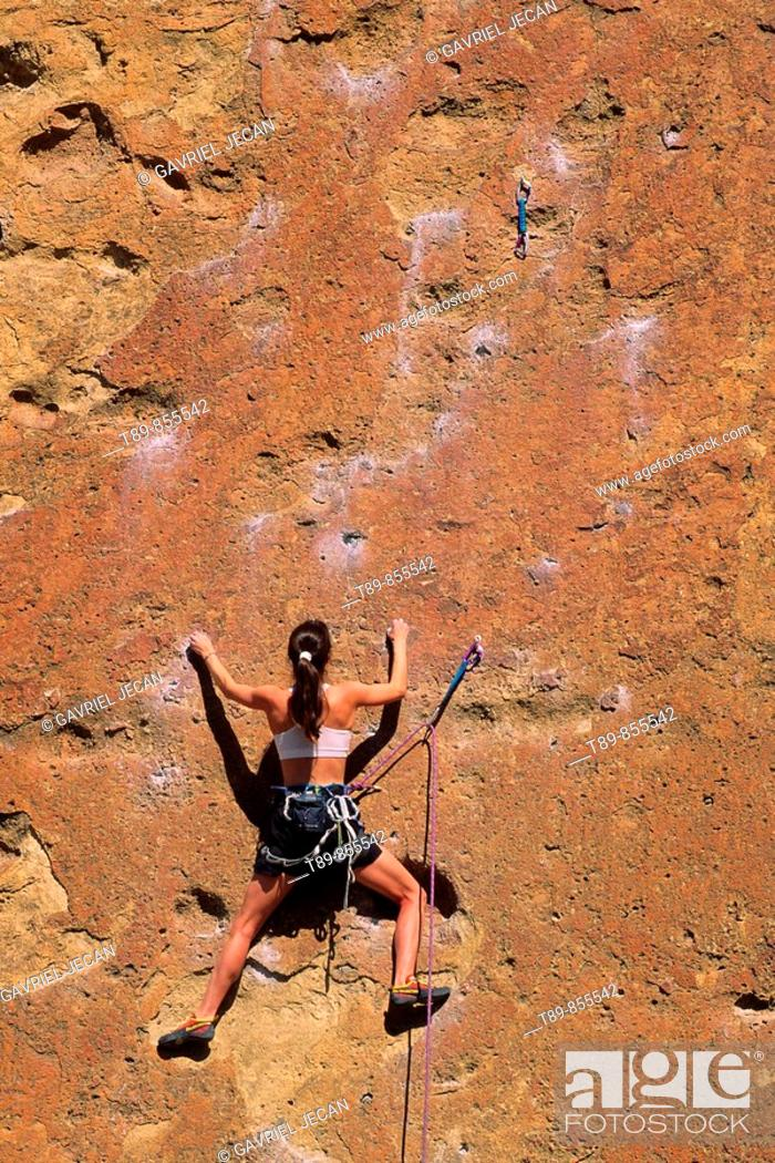 Stock Photo: Smith Rock State Park. Rock climbing.