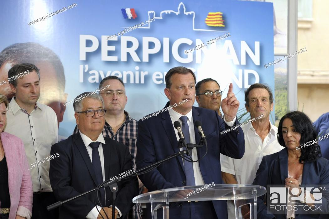 Stock Photo: French municipals elections in PERPIGNAN south of France, second ballot between the ougoing mayor Jean-Marc PUJOL (LesREPUBLICAINS) right and Louis ALIOT.