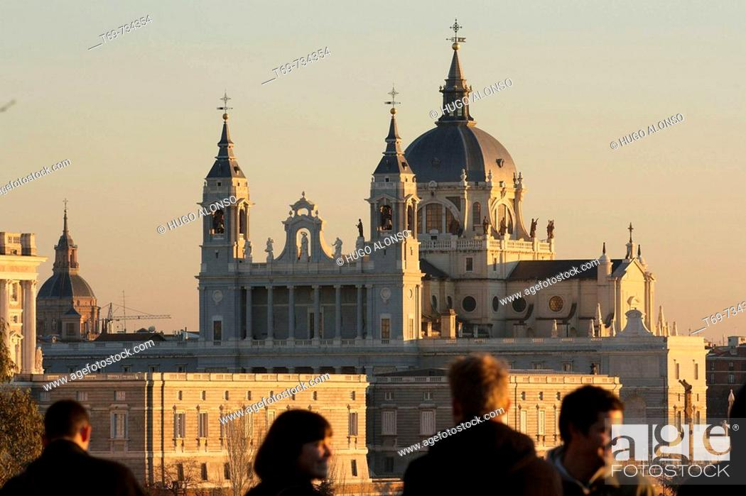 Stock Photo: Almudena cathedral, Madrid, Spain.