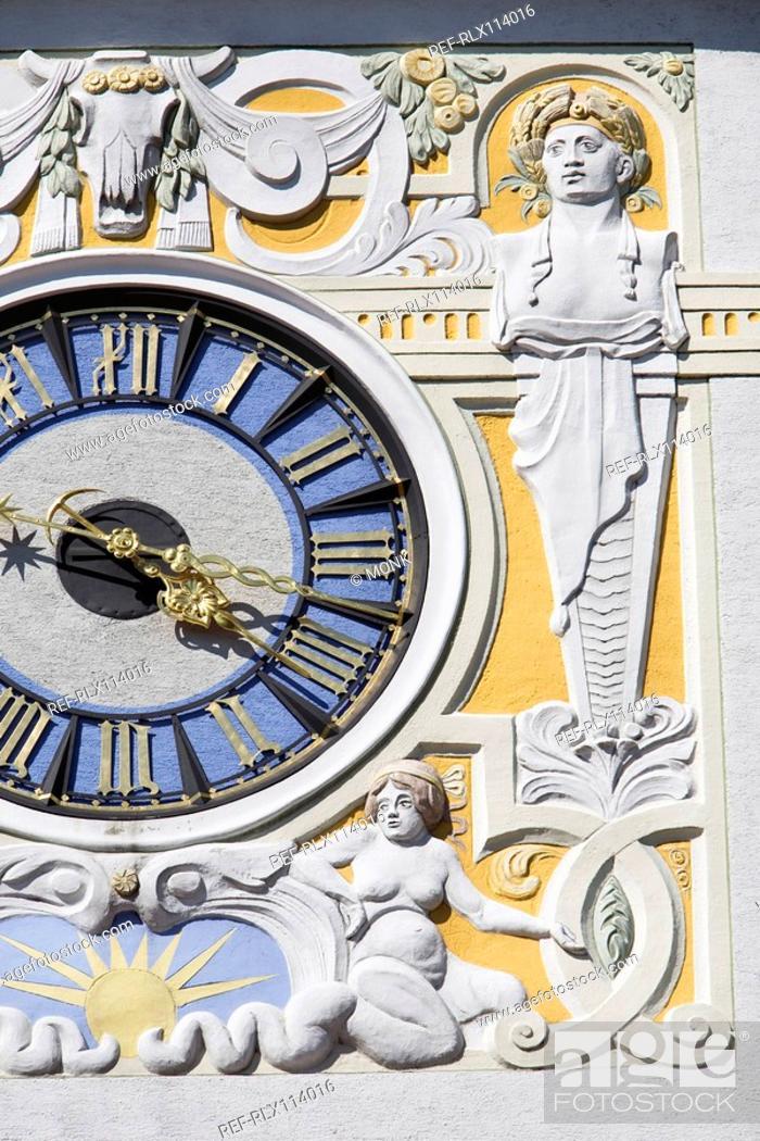 Stock Photo: Muellersches swimming pool clock tower, Munich, Bavaria, Germany.