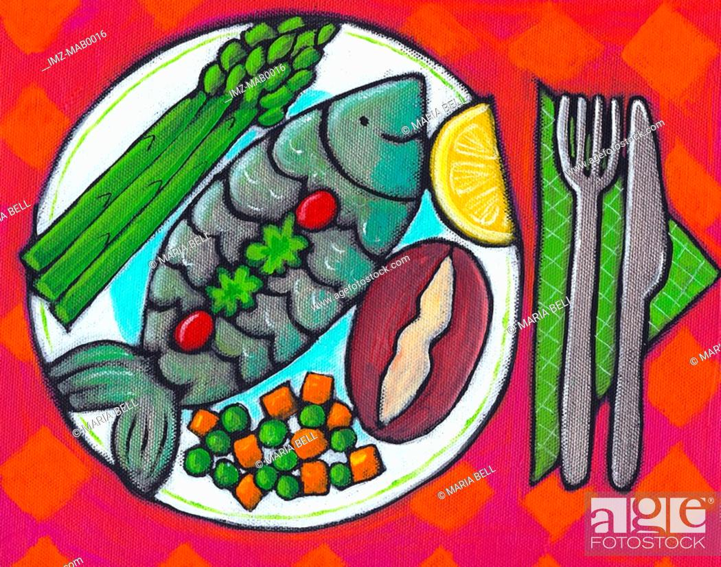Stock Photo: A plate of fish and vegetables.