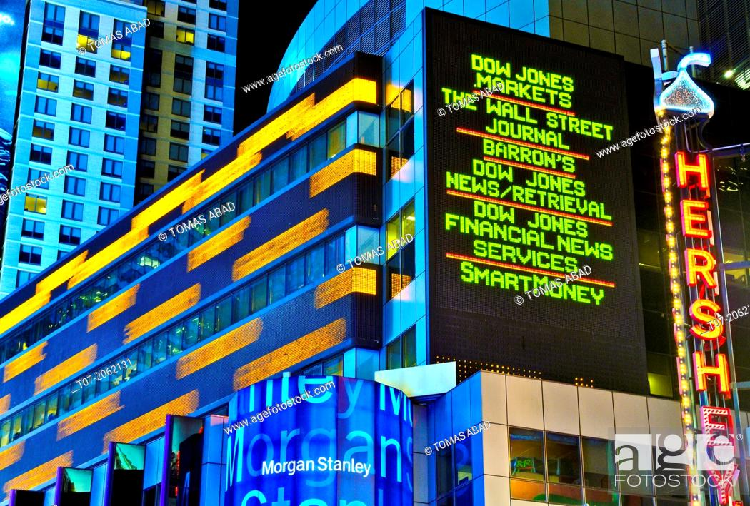 Time Square, Broadway, Morgan Stanley building, Stock Quotes