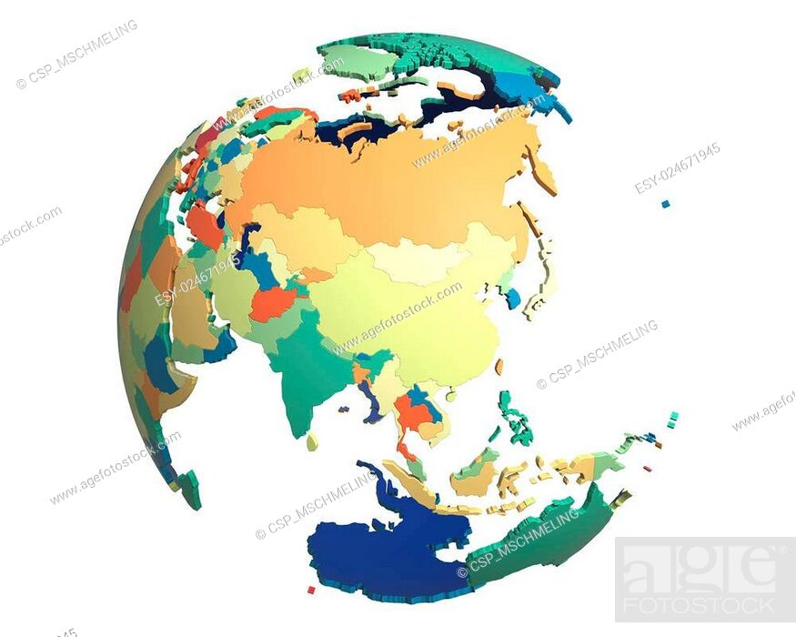 Stock Photo: Political Globe, centered on China.