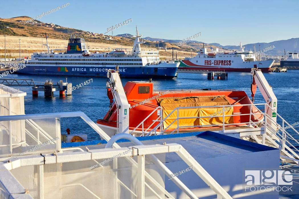 Stock Photo: Ferry between Tangier Morocco and Algeciras Spain, Port of Tangier MED, Strait of Gibraltar, Tangier, Morocco, Africa,.
