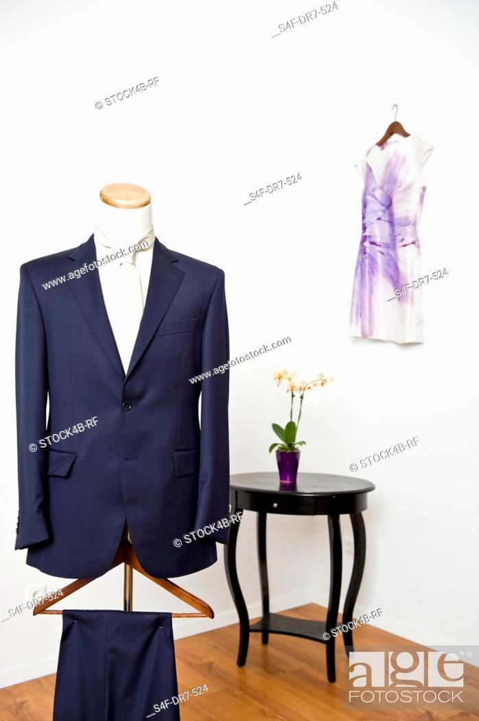 Stock Photo: Elegant suit in a tailor studio.