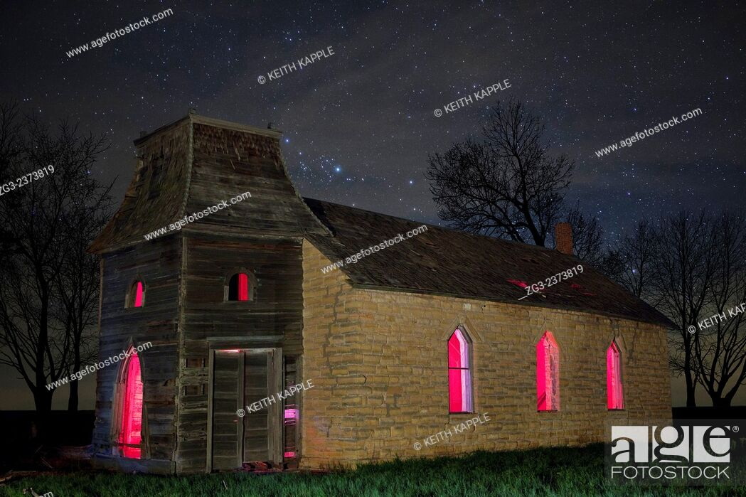 Stock Photo: Starry night sky at an Abandoned Lost Lutheran Church in Kansas.