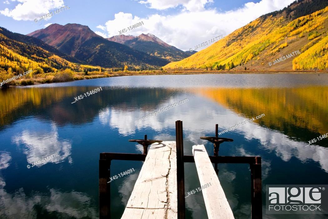 Stock Photo: A high country lake in Colorado's San Juan Mountains in autumn.