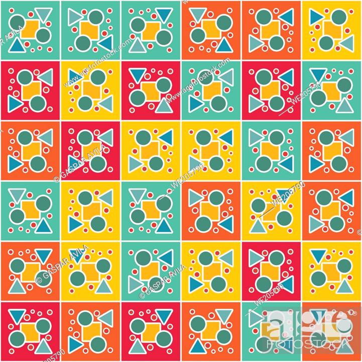 Stock Vector: Tiled geometric pattern in assorted shapes and vibrant colors.