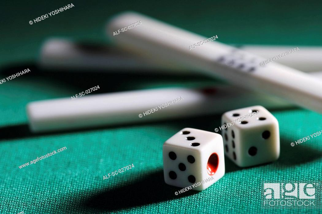 Stock Photo: Mahjong chips and die.