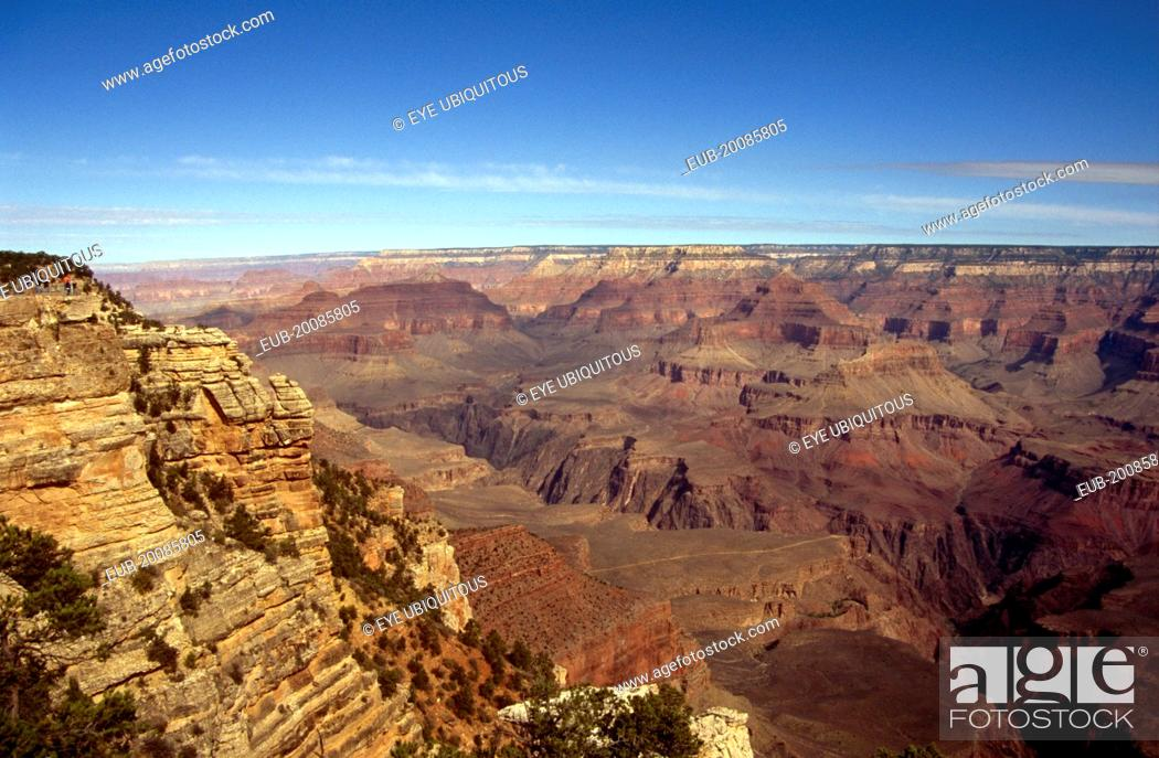 Stock Photo: View over the deep gulleys exposed as the Colorado River and its tributaries cut their channels through layer after layer of rock .