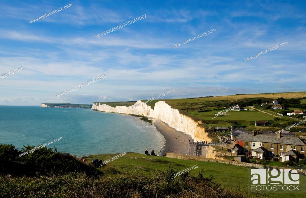 Stock Photo: Seven Sisters. Chalk cliffs. South Downs National Park. East Sussex. England.