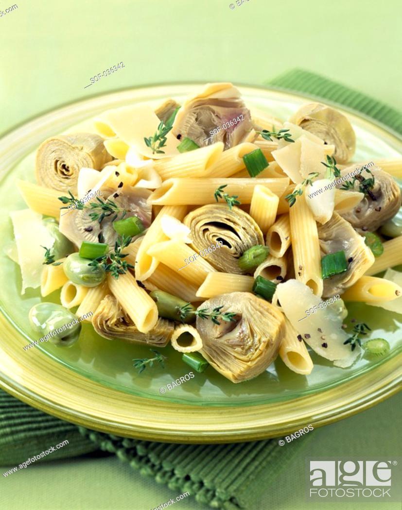 Stock Photo: Pasta and artichoke salad.