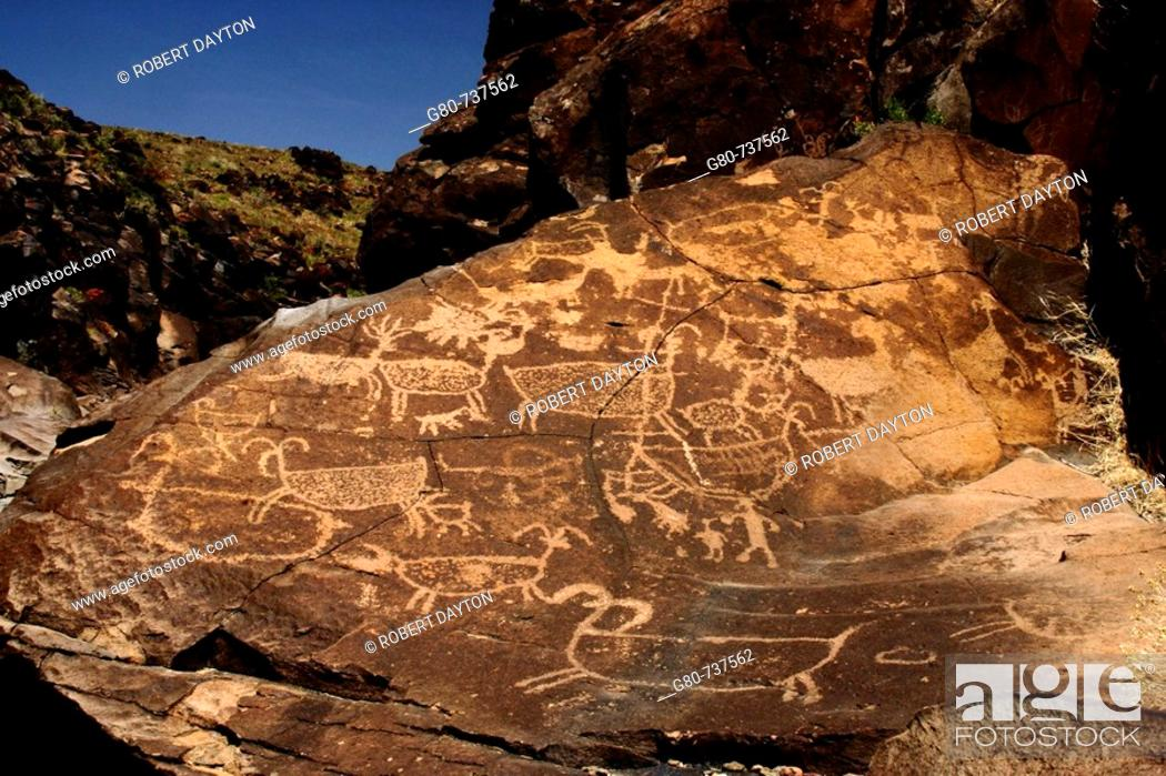 Stock Photo: American Indian Petroglyphs in the Little Petroglyph Canyon in the Coso Range of Southern California, USA.