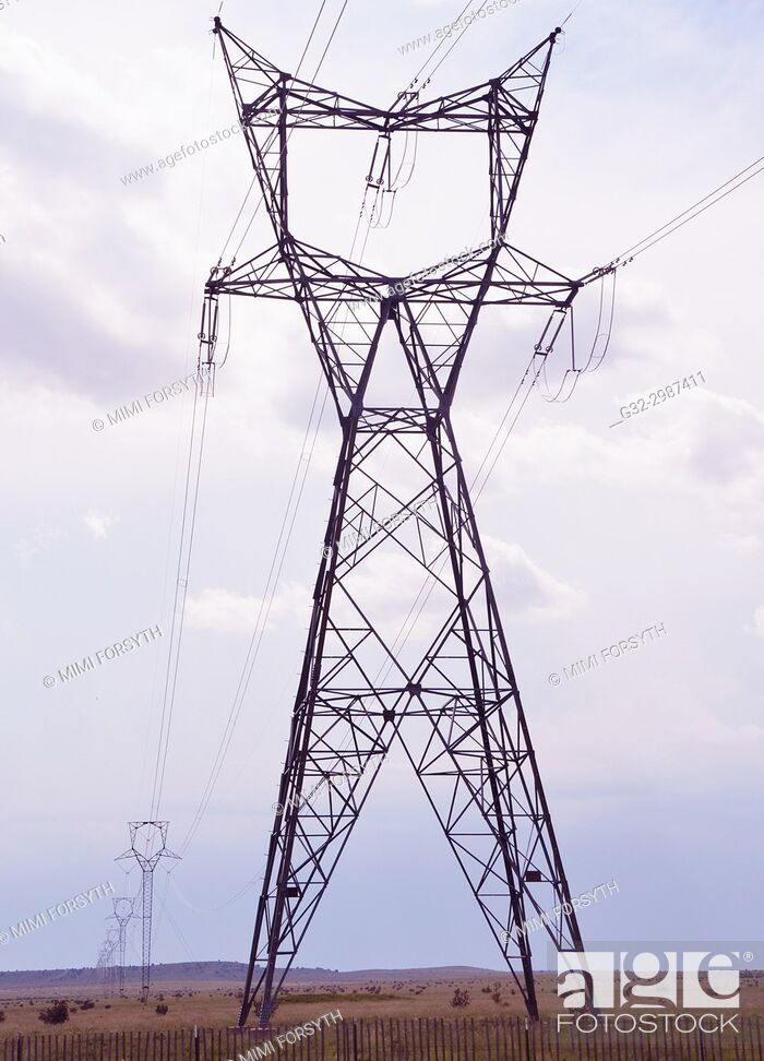 Stock Photo: power lines, New Mexico.