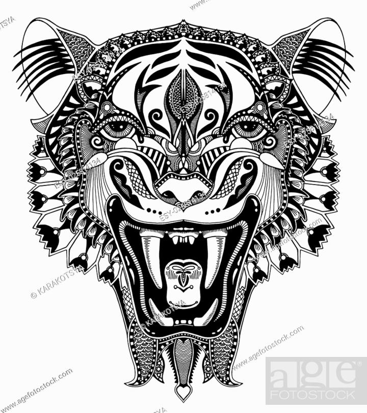 b6f807f1c299f Stock Vector - original black and white head tiger drawing with the opened  fall, isolated on white background, perfect for tattoo design, ...