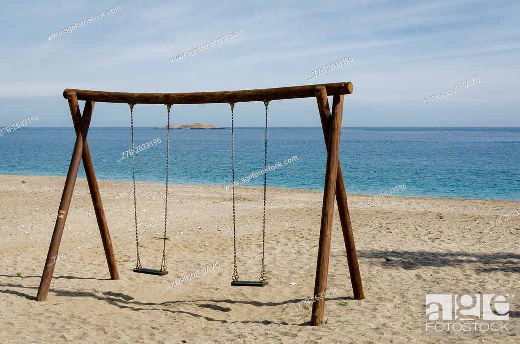 Stock Photo: A swing view on Carboneras beach, Almería province, Spain.