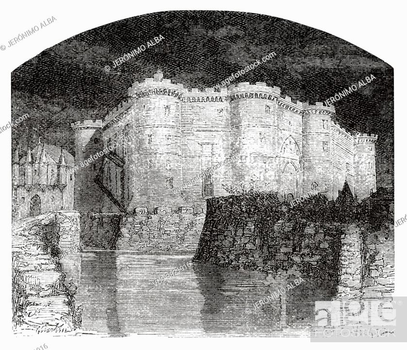 Stock Photo: The Bastille during the French Revolution, Pris. France. Old 19th century engraved illustration from Histoire de la Revolution Francaise 1876 by Jules Michelet.