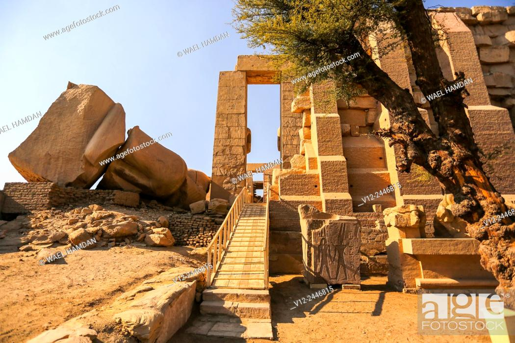 Stock Photo: Ramesseum Temple of Ramses II, c 1278-c 1260 BC, Luxor West bank, Egypt.