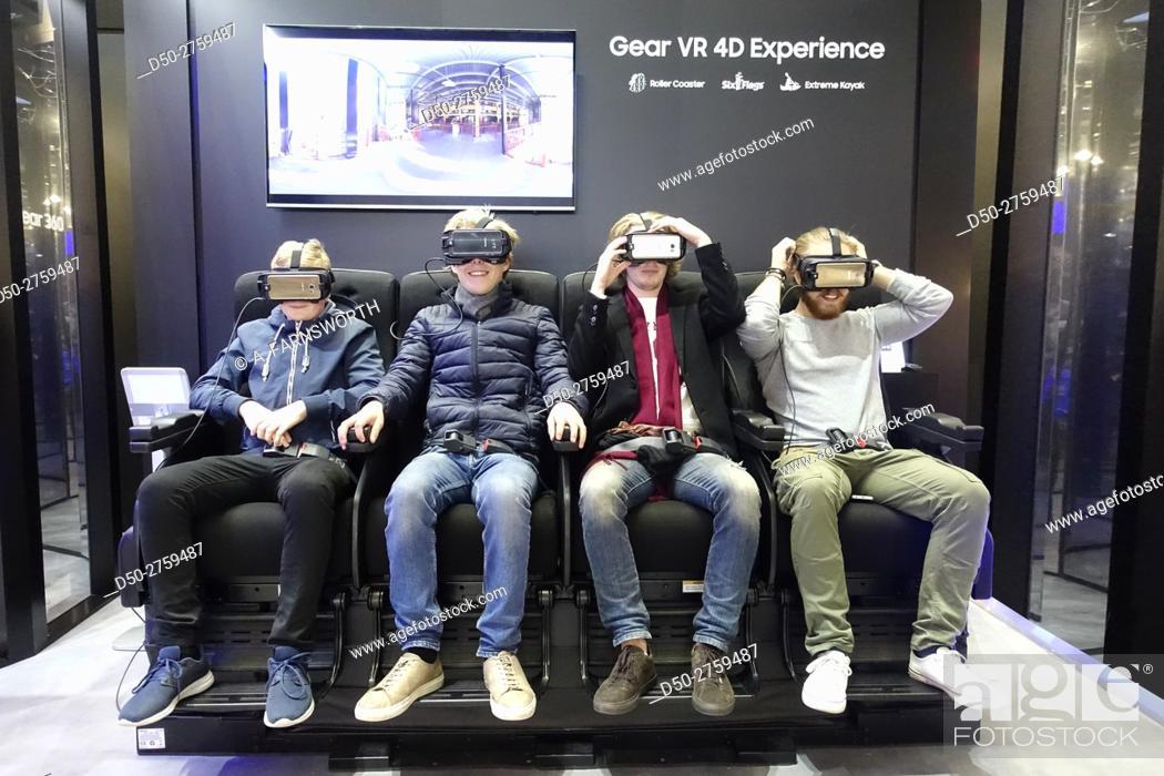 Stock Photo: STOCKHOLM, SWEDEN Mall of Scandinavia, biggest in Scandinavia. Samsung phone stand VR display.
