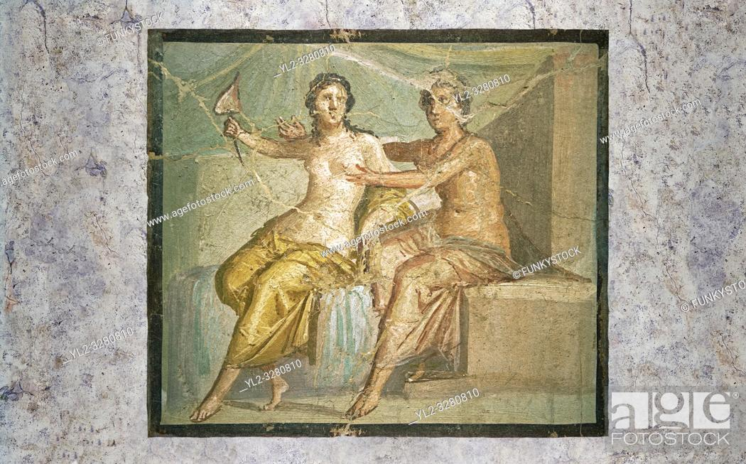 Stock Photo: Roman Erotic Fresco from Pompeii depicting Mars caressing Venus, Naples National Archaeological Museum - 1st century AD.