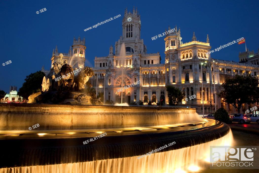 Stock Photo: Cibeles Fountain and Palacio de Comunicaciones, Madrid, Spain.