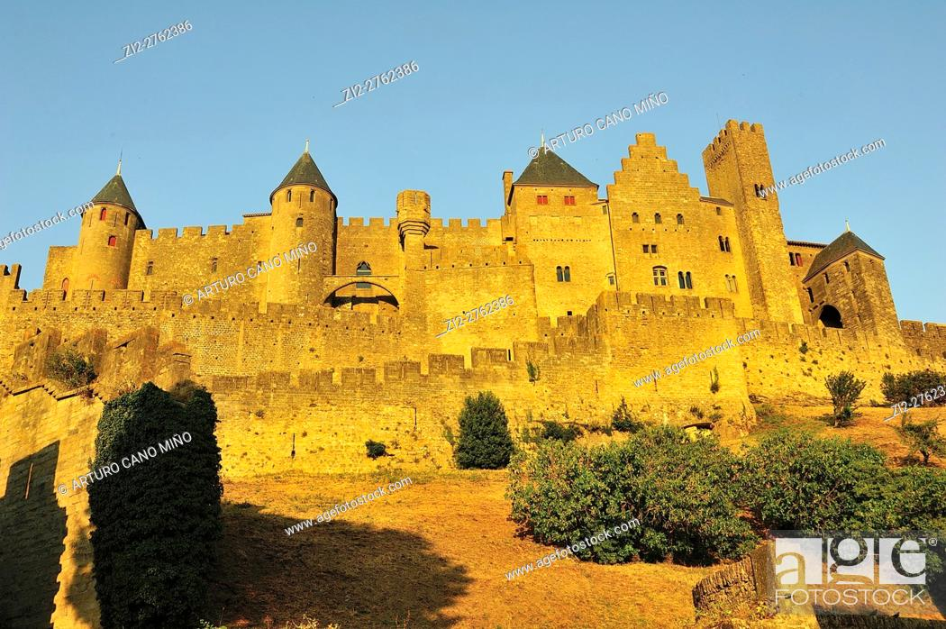Stock Photo: The Fortified Citadel, XIIIth-XIXth centuries. Carcassonne city, Aude department, Languedoc-Roussillon region, France.