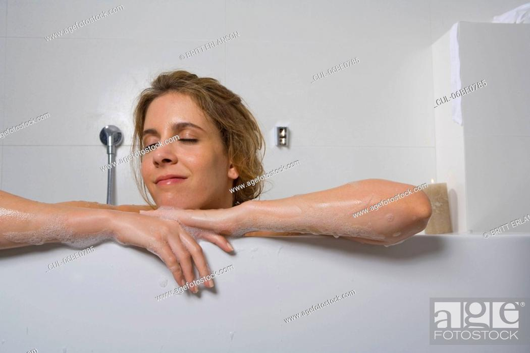 Stock Photo: Woman in bathtub, relaxing.