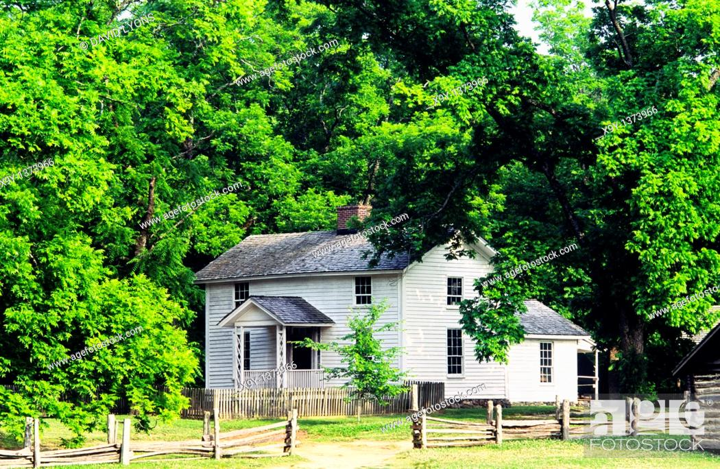 Stock Photo: The historic farmhouse at the Duke Homestead and Tobacco Museum dates from 1852  Durham, N  Carolina, USA.