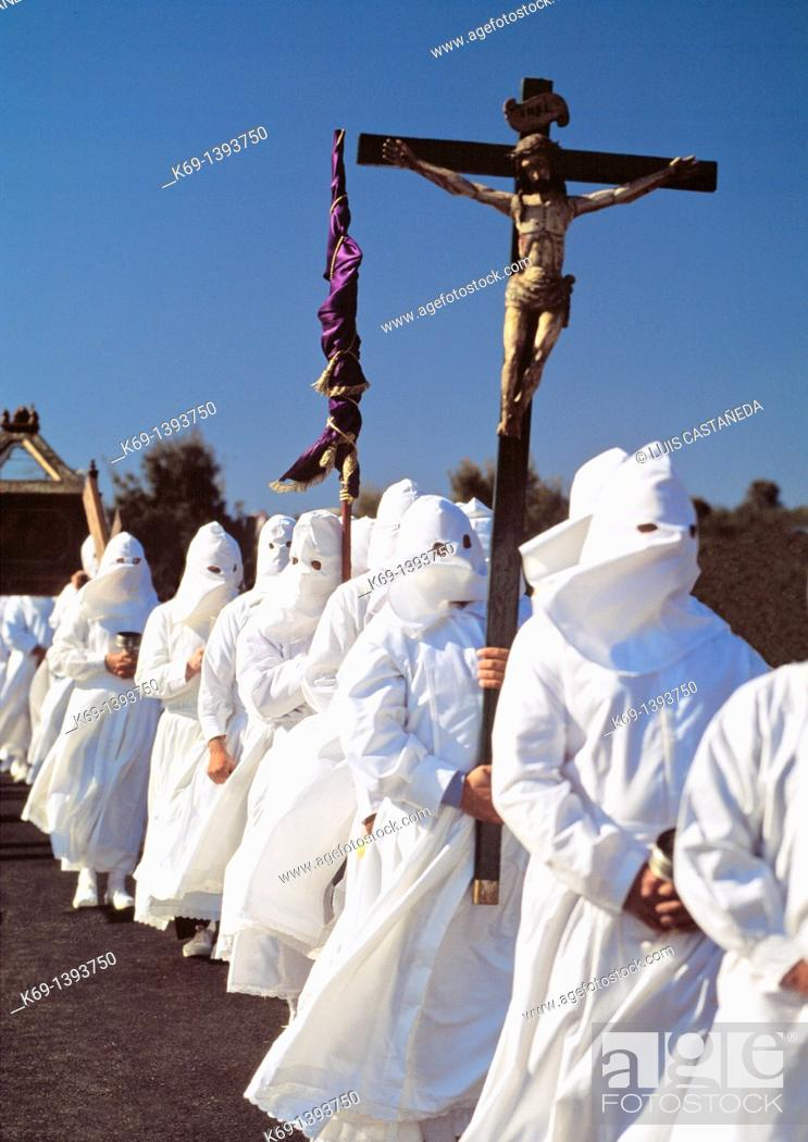 Stock Photo: Holy Week procession, Bercianos de Aliste, Zamora province, Castilla-Leon, Spain.