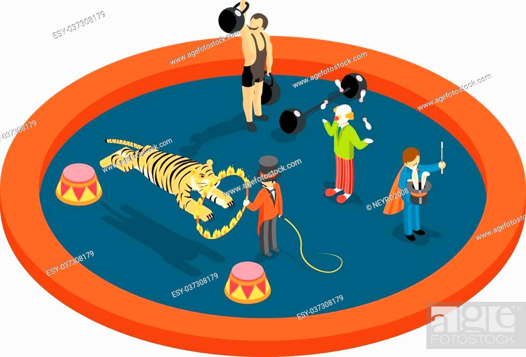 Stock Vector: Isometric 3d circus characters. Animal trainer and athlete, magician and clown, performance and magic, entertainment vector illustration.