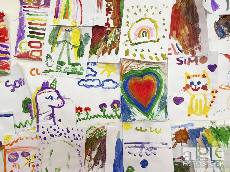 Stock Photo: Colorful Children Paintings on Wall. . .